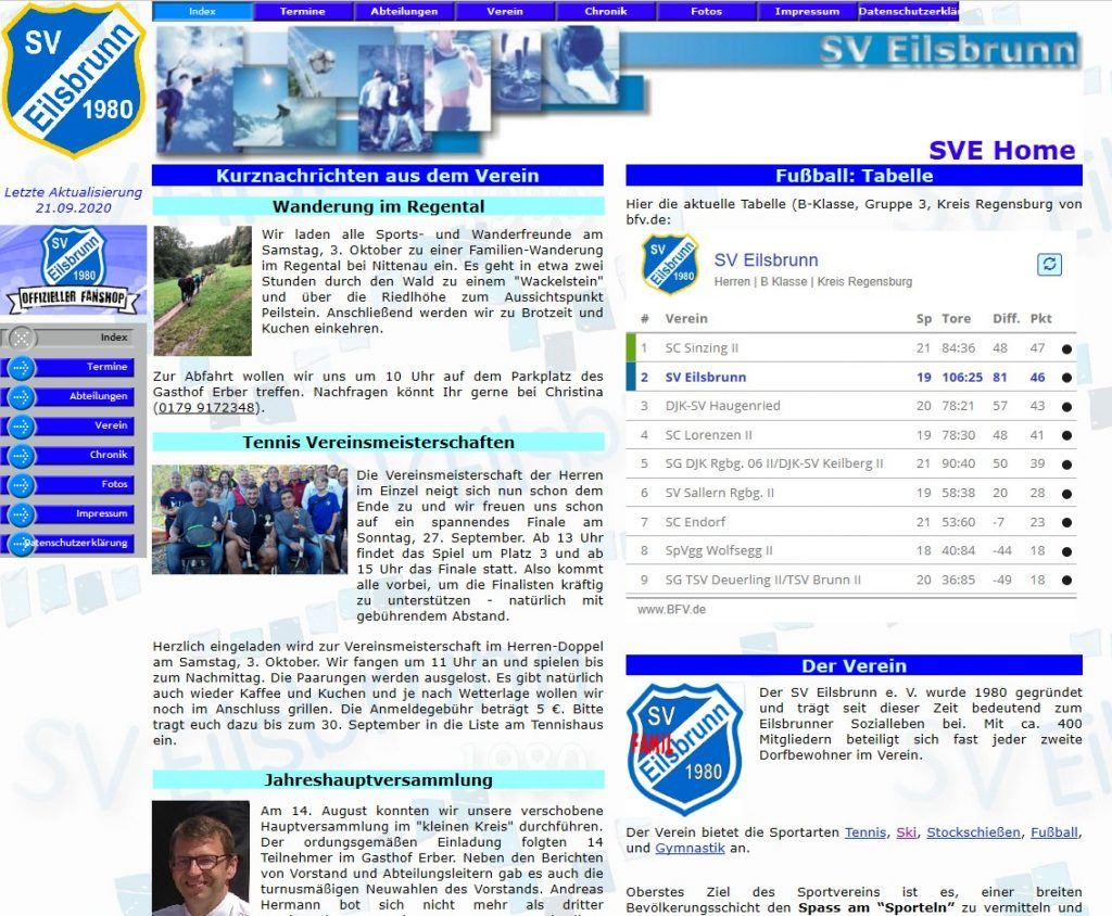 Website des SV Eilsbrunn im September 2020